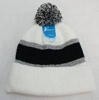 Double-Layer Knitted Hat with PomPom [Black/Light Gray/White]